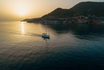 Beautiful sea landscape, sailboat sailing