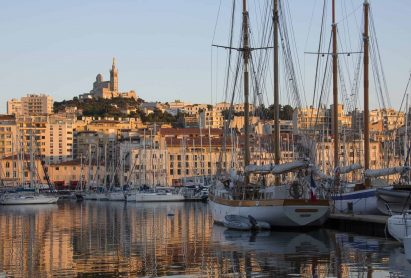The harbor of Marseille in the late afternoon sunlight