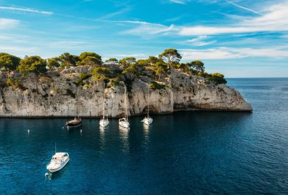 White Yachts Boats In Bay. Nature Of Calanques On The Azure Coas